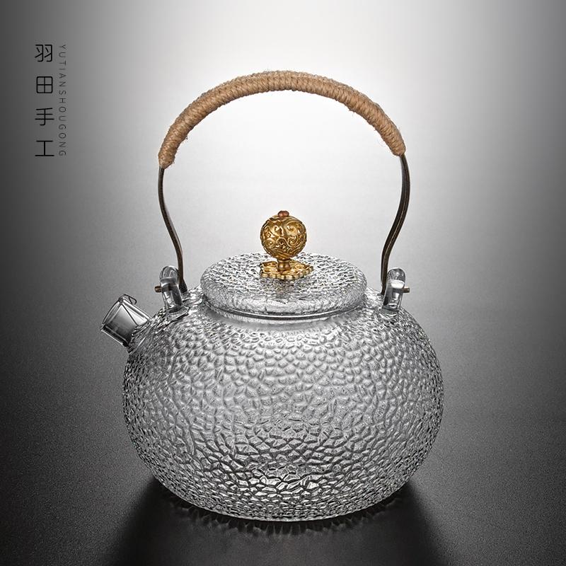日式手工锤目纹加厚玻璃红茶茶具煮泡茶器耐热电陶炉提梁烧水壶