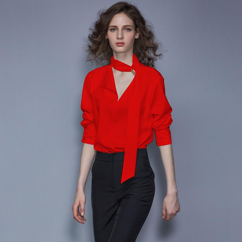 红色衬衫女设计感小众2019秋装新款女装衬衣欧货洋气时尚宽松上衣