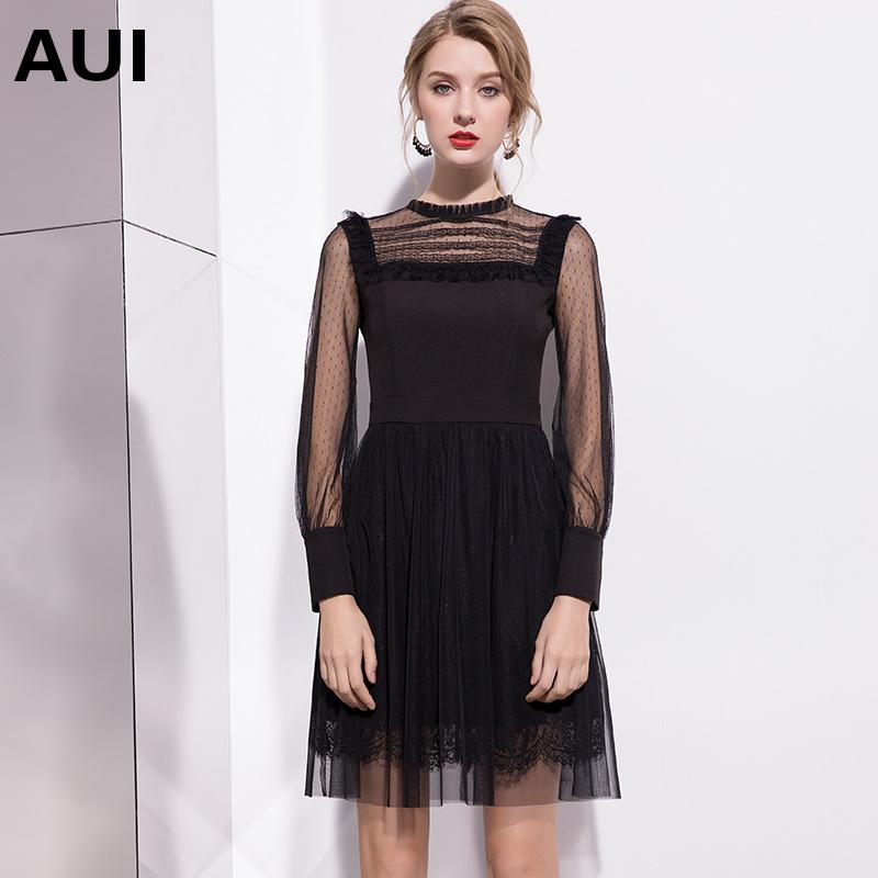 aui欧洲站重工裙子女2019新款欧美风女装秋装黑色长袖蕾丝连衣裙