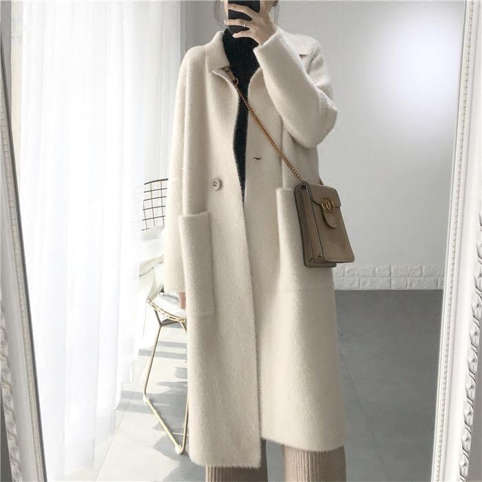 孕妇装秋冬网红新款chic慵懒宽松水貂绒加厚长款毛衣外套长袖开衫