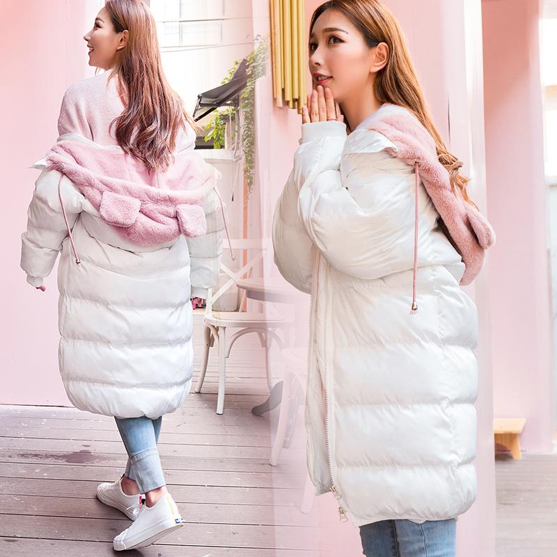 羽绒棉服女中长款棉衣冬装韩版宽松可爱外套学生面包服2018新款潮