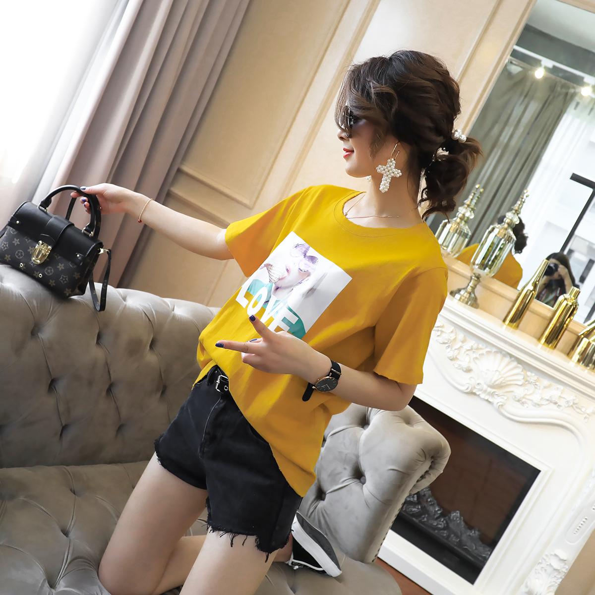 短袖女学生宽松韩版ulzzang百搭夏装新款女装印花显瘦T恤女打底衫