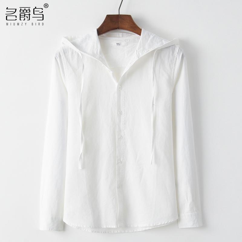 春夏亚麻衬衫男长袖宽松舒适青年纯色休闲棉麻上衣连帽衫亚麻衬衣