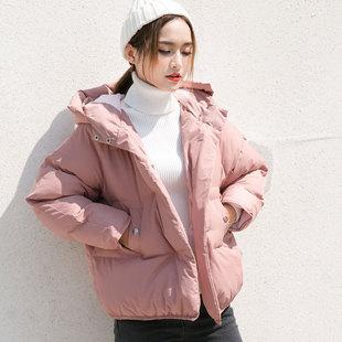 孜索2018冬季新款粉色小棉服女韩版学生短款连帽面包棉衣加厚外套