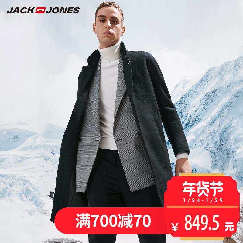 JackJones杰克琼斯中长款男士秋冬季羊毛呢子大衣外套E|217327510