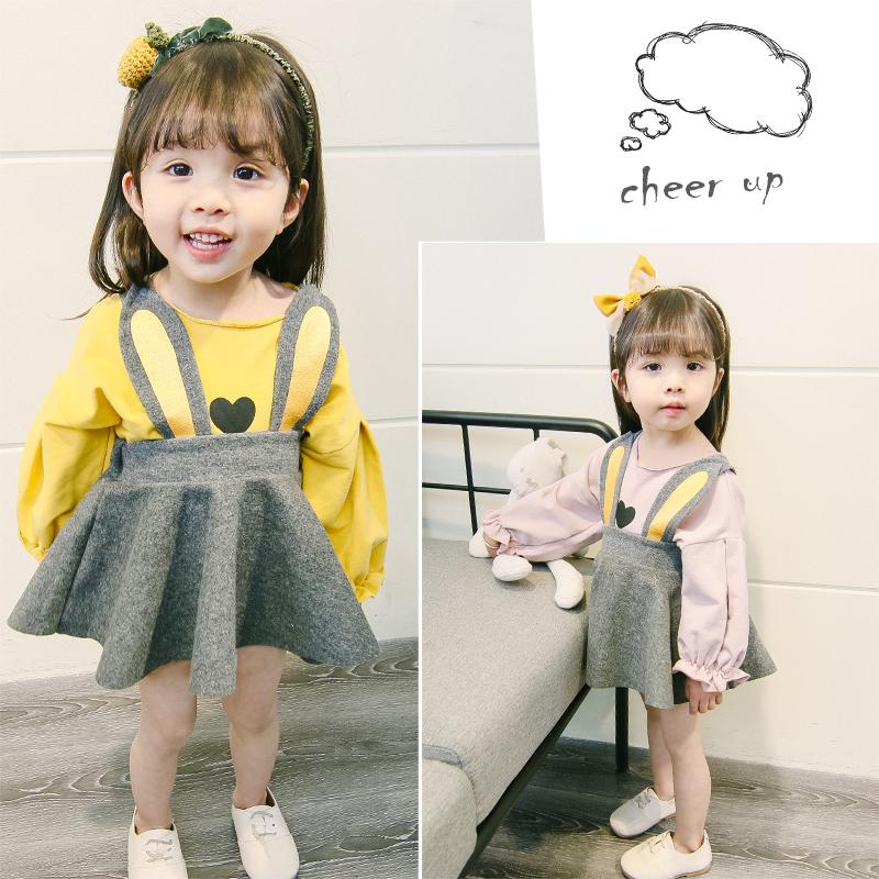 潮童装女童套装春秋洋气儿童背带裙两件套0一1-3岁小童女宝宝秋装