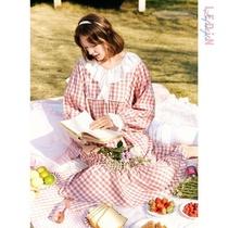 徐老师同款粉色格子睡衣裙女蕾丝大码甜美可爱秋季长袖公主连衣裙