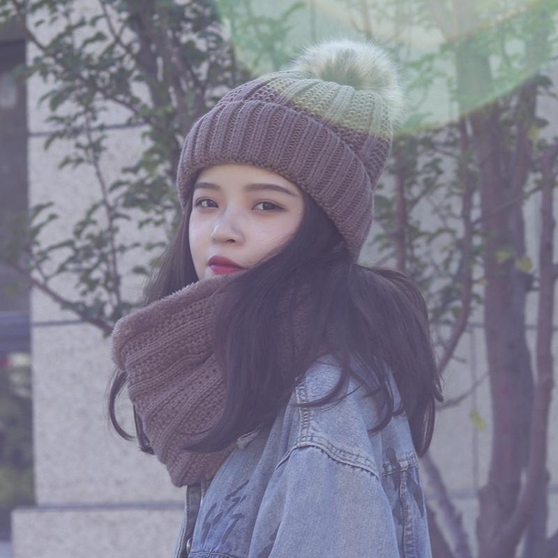 毛线帽子女冬季甜美可爱围巾针织帽子一体两件套韩版百搭保暖护耳
