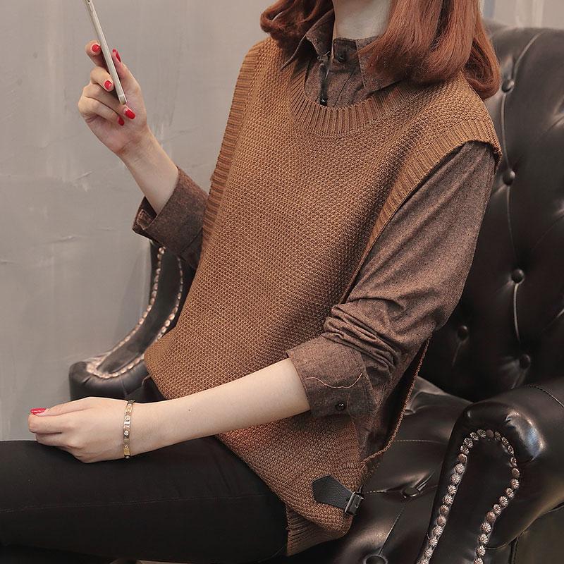 毛衣衬衣两件套女秋冬新款2018韩版 宽松衬衫领拼接假两件上衣女
