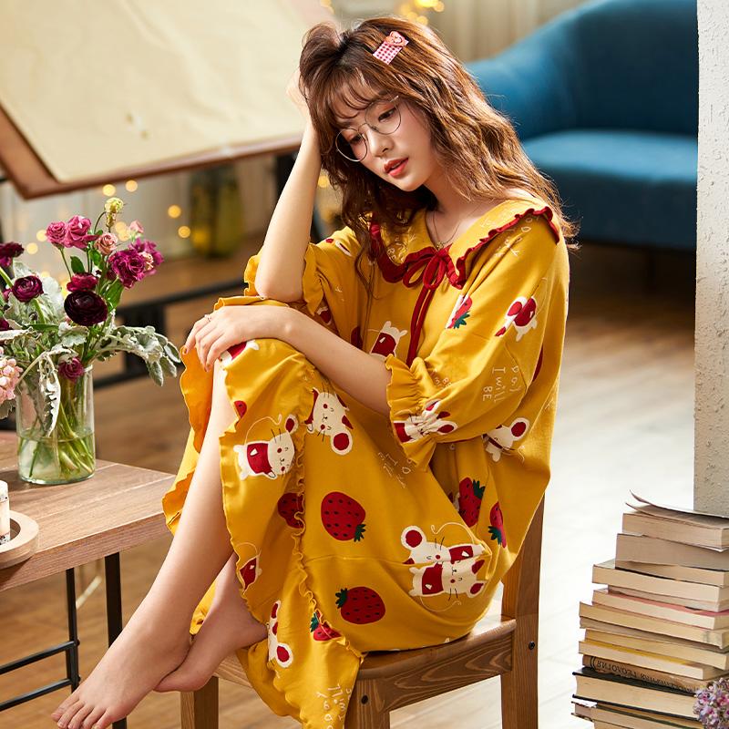睡裙女夏季纯棉短袖公主风薄款很仙可爱性感连衣裙子可外穿睡衣女