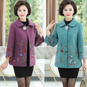 Middle-aged and elderly women's autumn clothing new 40-50-year-old middle-aged lady mother's clothing autumn and winter fashion woolen coat