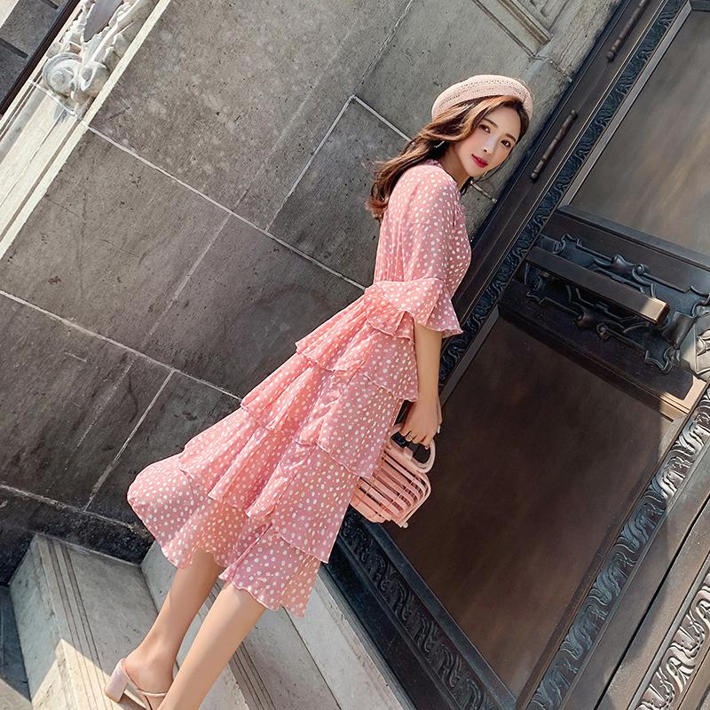 层层蛋糕裙2019新款夏连衣裙很仙的法国小众桔梗裙波点粉色雪纺裙
