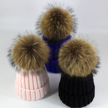 冬天狐狸毛球针织帽韩款ad8真貉子毛xt女加绒加厚帽子亲子帽