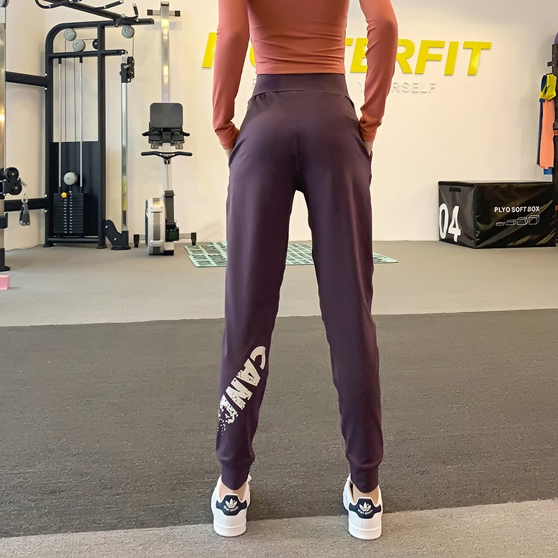 显瘦运动长裤女收口束脚健身房宽松长裤速干高腰弹力跑步裤瑜伽裤