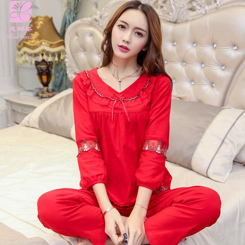 惠娜姿春秋女士纯棉花边套头大红色秋季本命年结婚睡衣全棉家居服