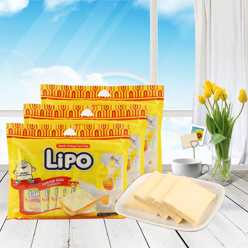越南进口利葡lipo奶油味面包干200g*3袋面包片饼干早餐零食包邮