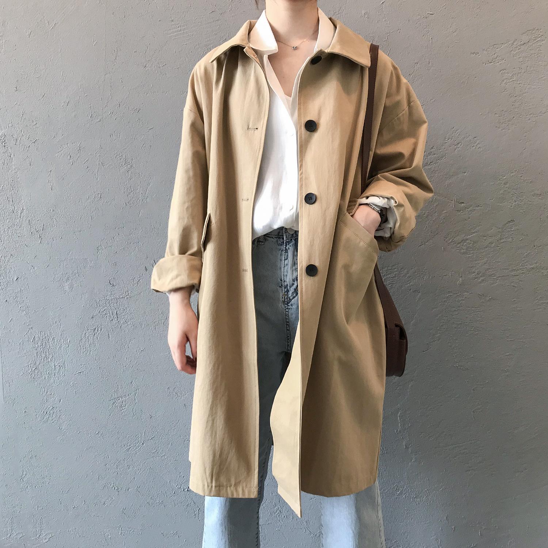 中长款宽松waitmore风衣女韩版学生英伦风外套秋季小个子薄款大衣