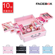 FACEBOX large cosmetic case professional portable multi - layer nail make - up embroidery toolbox beginner with lock