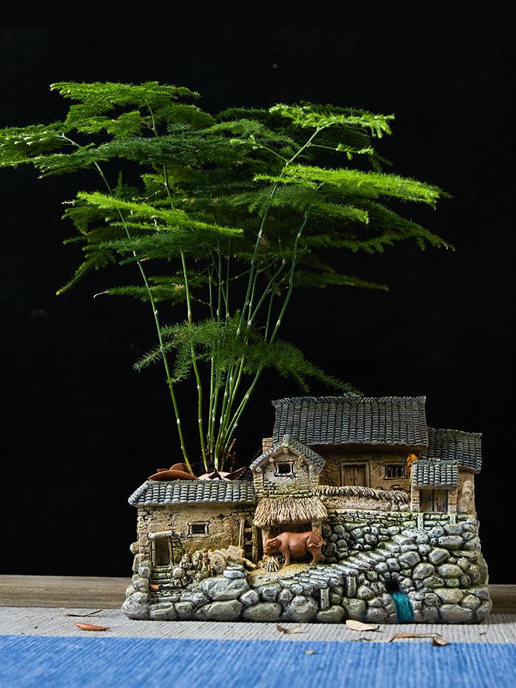 带灯多肉花盆创意个性田园微景观组合室内盆栽植物盆景装饰小摆件