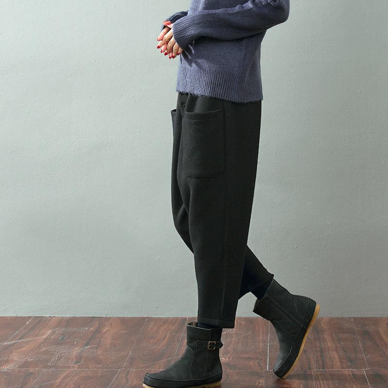 可然出品 边际/羊毛呢裤子女裤秋冬季2019新款宽松直筒裤 休闲裤