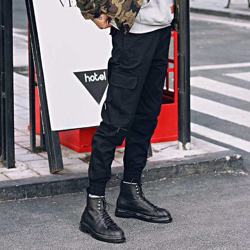 【天天特价】军事口袋工装裤 拉链束脚裤 慢跑裤修身小脚裤 男潮