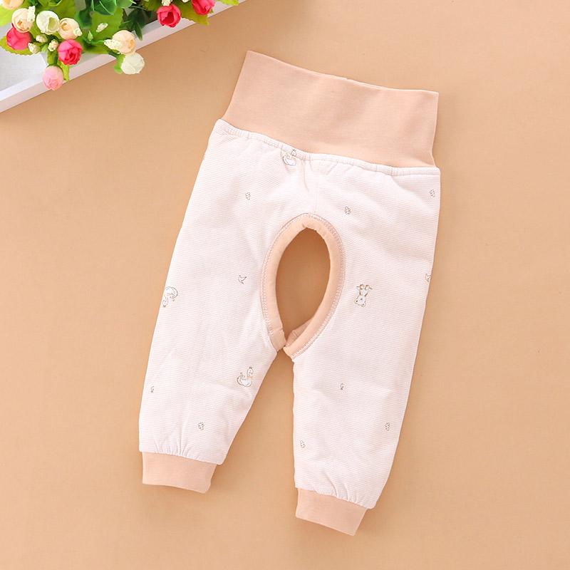 欢喜小熊婴儿保暖裤开档夹棉护肚裤高腰裤子宝宝男童女儿童开裆裤