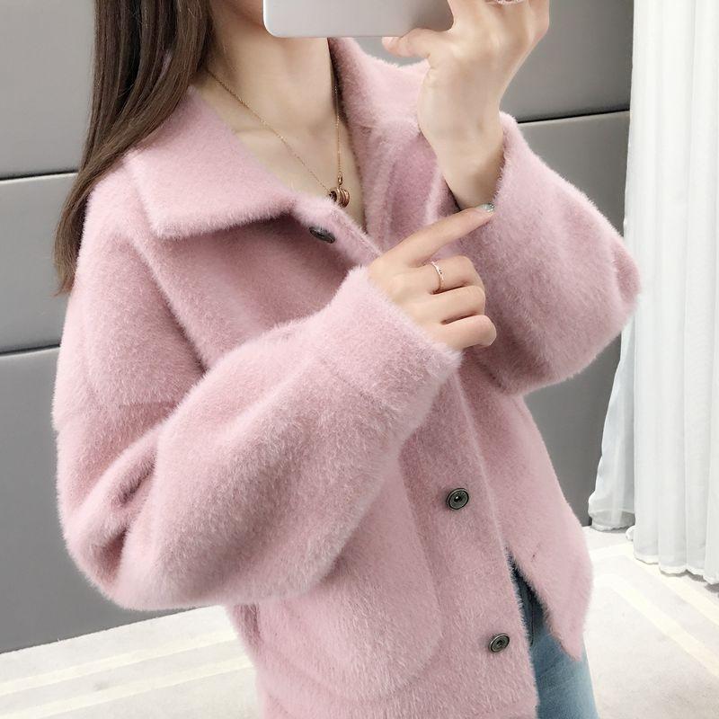 仿水貂绒短外套女冬季2019新款女装春秋韩版宽松毛绒针织开衫上衣
