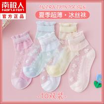 女童纯棉袜子春秋薄款女孩公主网眼透气儿童水晶丝袜宝宝夏季中筒