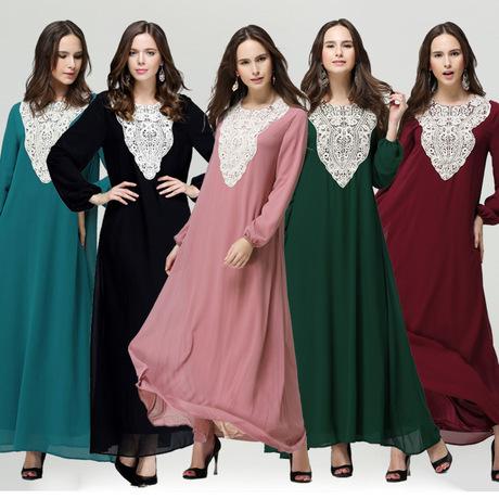8031#新款穆斯林蕾丝花边长袖连衣裙宽松无腰带长裙 现货 -