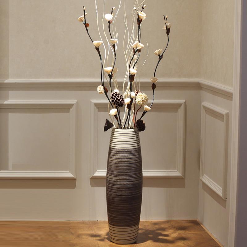 高大花瓶摆件客厅落地插花大号家居装饰品陶瓷仿真花饰品简约欧式
