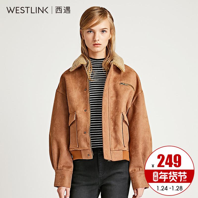 西遇女装2017冬季新款翻毛领仿麂皮绒复古外套女冬短款帅气夹克