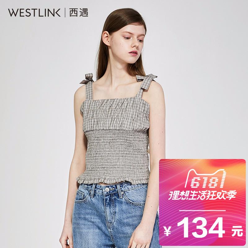 西遇女装2018夏季新款短款上衣女修身束腰棉蝴蝶结吊带背心女外穿