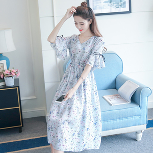 Maternity dress dress summer new 2018 loose long section short-sleeved summer summer chiffon floral long skirt