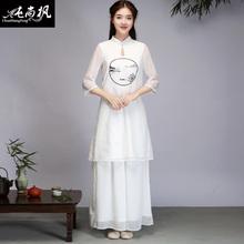 中国风中款女装唐装雪纺上衣mo10族风文as茶服瑜伽服套装