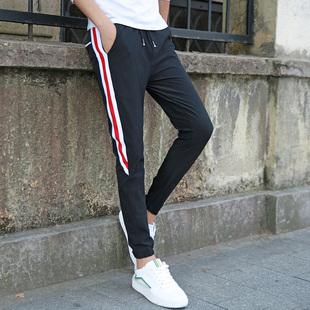 夏季裤子男冰丝超薄款运动裤男士新款韩版修身潮流青年休闲九分裤