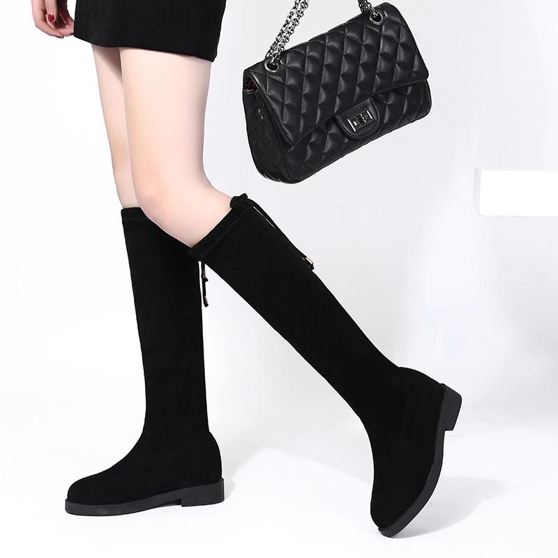 弹力不过膝女平底长靴秋季2018新款中筒长筒百搭秋款瘦瘦高筒靴子