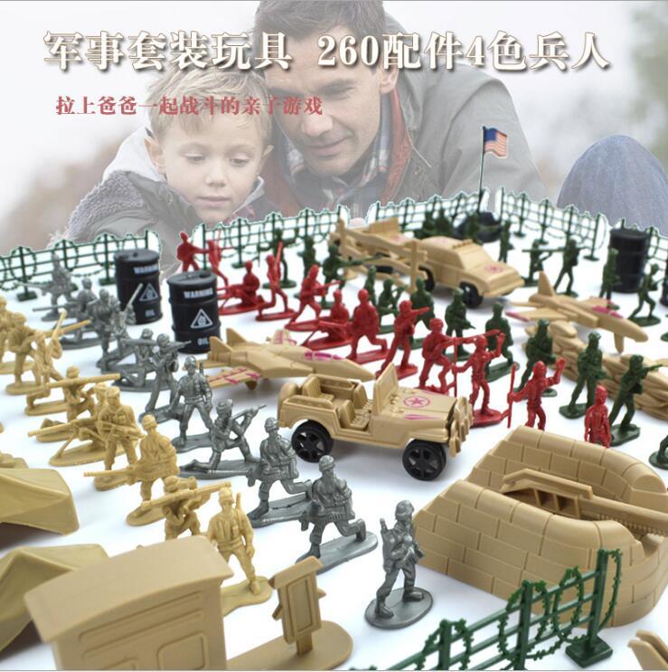 包邮二战士兵军事套装沙盘打仗玩具小兵人战争场景塑料模型儿童礼