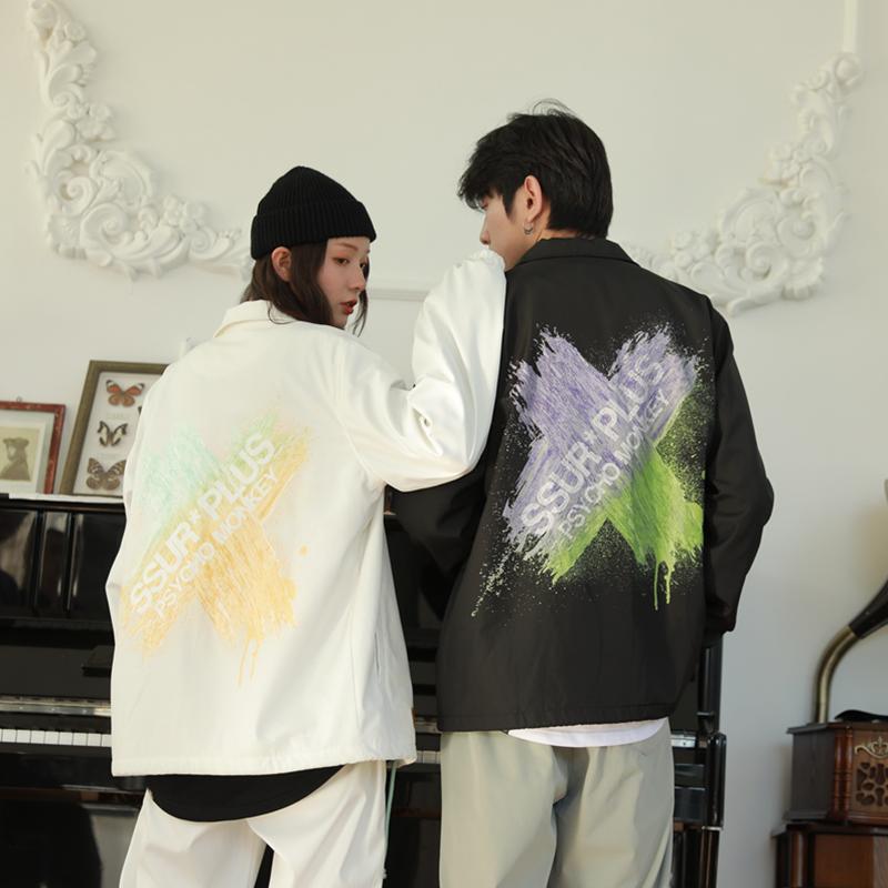 愚人潮社 SSUR PLUS联名PCMY刷漆印花教练夹克潮牌情侣装外套男女