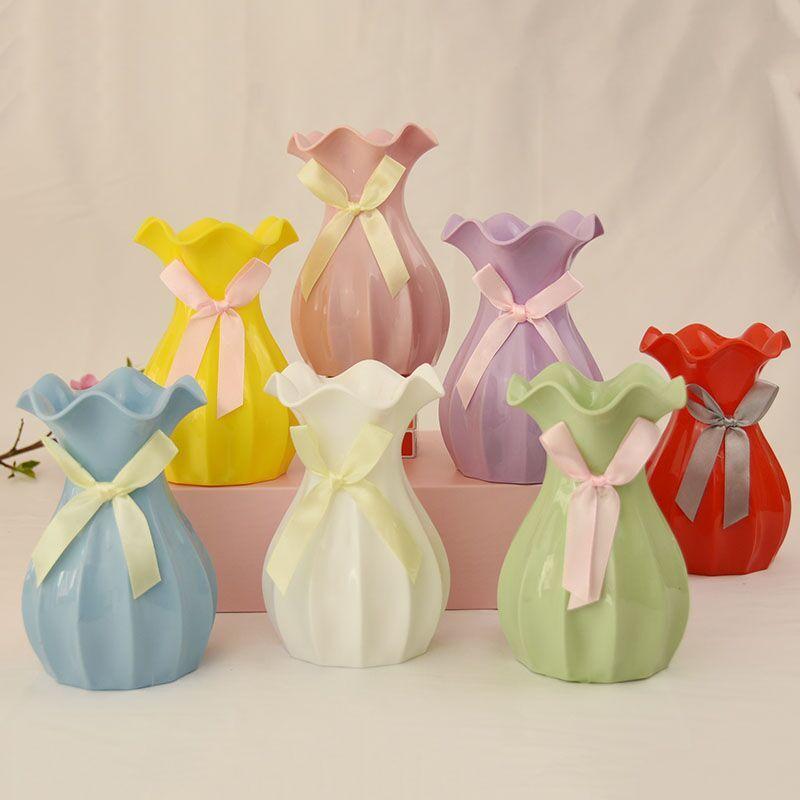 花漾简约欧式鲜花瓶客厅小号装饰摆件仿真干花插花瓶桌面迷你花瓶