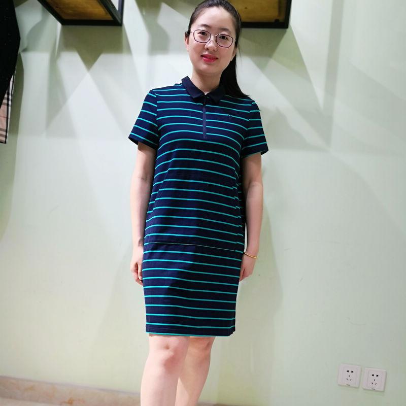 韫YUN2020夏新品女装POLO领前贴口袋A字版条纹短袖针织连衣裙1562