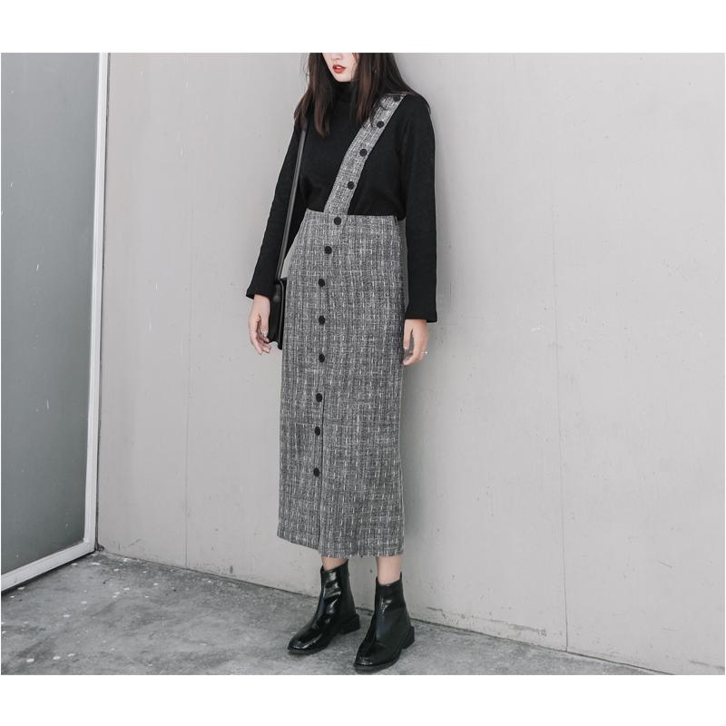 CHACHA自制冬季欧美休闲宽松加厚半身裙女复古两穿背带裙修身长裙