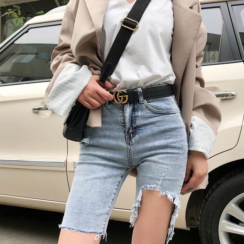 高腰牛仔短裤女夏季2019新款破洞外穿紧身中裤显瘦骑行韩版五分裤