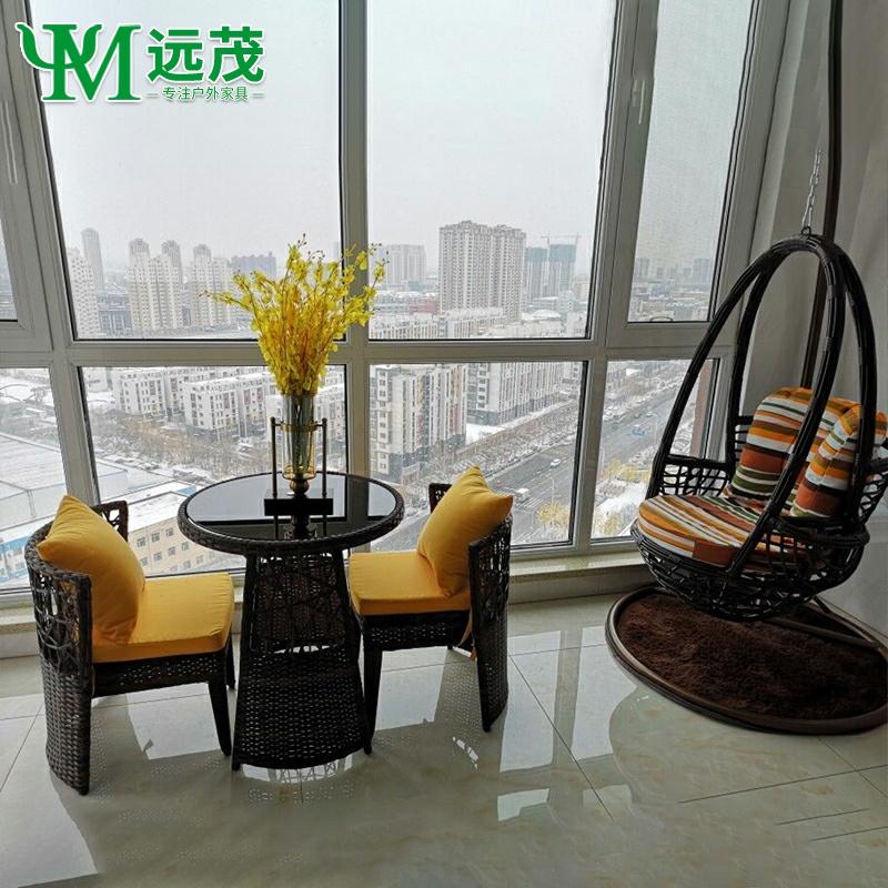 藤椅三件套阳台小茶几休闲家用现代简约靠背藤椅子庭院椅户外桌椅
