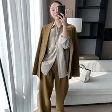崔婶儿定制 英式三角口袋西装套装女西服+阔腿西裤两件套时尚秋装
