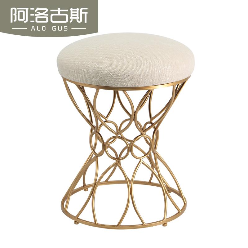 欧式妆台凳时尚布艺化妆凳简约创意换鞋凳美式