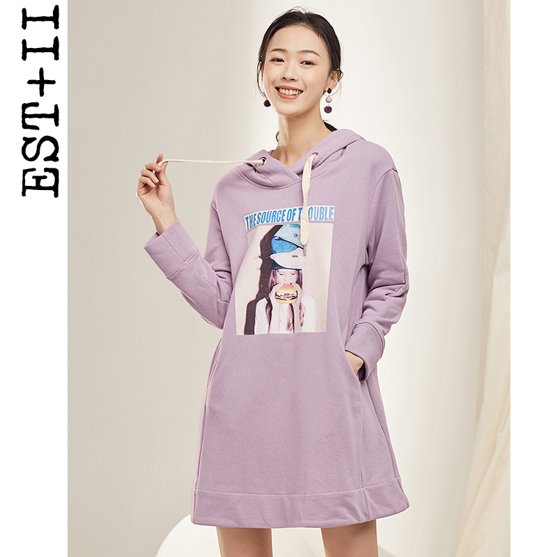 EST+II/艺诗2019新款学院风连帽长袖韩版贴画宽松女式卫衣连衣裙