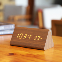 Bedroom Creative Alarm Clock Wooden Personality Nordic Students Use Lazy Bedside Watch Desktop Simple Electronic Small Clock