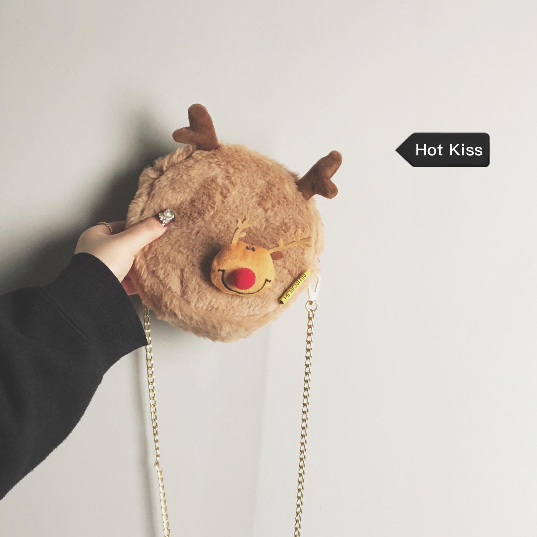 秋冬 可爱 毛毛 包包 新款 时尚 休闲 单肩 仙女 链条 斜挎包