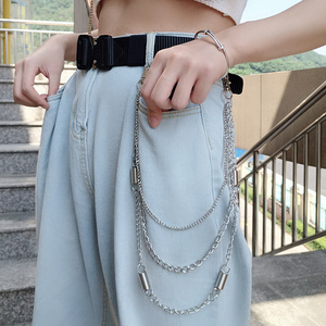 European and American jewelry punk style fashion ins men and women trend hip hop metal jeans chain simple decorative waist chain