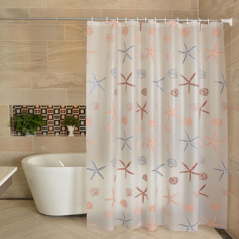 卫生间浴帘套装防水防霉加厚挂帘杆浴室洗澡隔断帘子免打孔门帘布